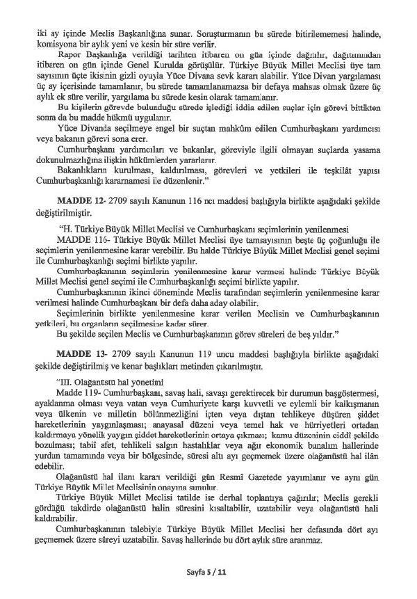 İşte 21 Maddelik Anayasa Değişiklik Teklifi