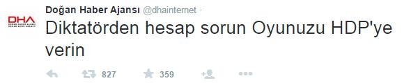DHA'dan Şok Tweet! HDP'ye Oy İstedi