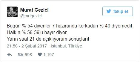 GEZİCİ, Twitter'dan Yeni Referandum Anketini Açıkladı!