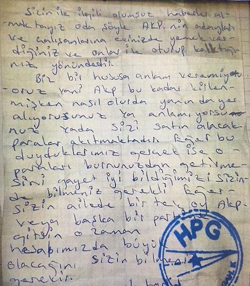 Terör Örgütü PKK, Halkı Tehdit Etti