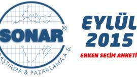 SONAR'ın Eylül 2015 Genel Seçim Anketi Sonuçları